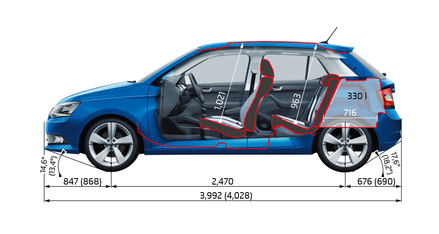 Fabia Dimensions Side Elevation