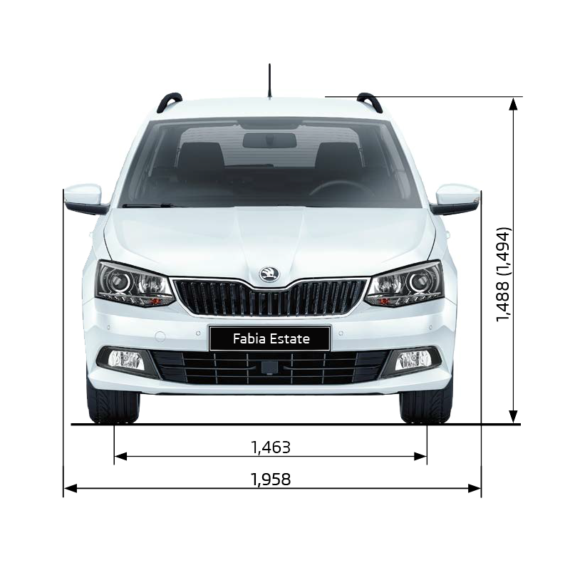 Fabia Estate Dimensions (Front Elevation)